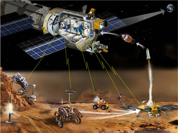 artist's conception of telerobotics on Mars