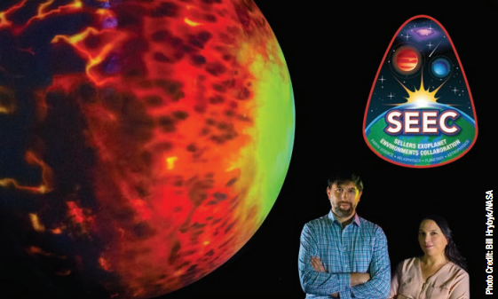 photo of Avi and Elisa with Science-on-a-sphere