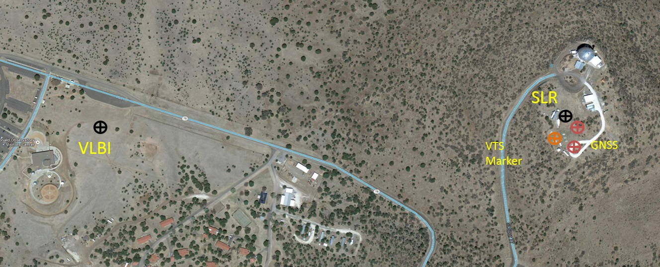 Aerial View of McDonald Geodetic Observatory in Fort Davis Texas, showing locations of the new VLBI and SLR stations