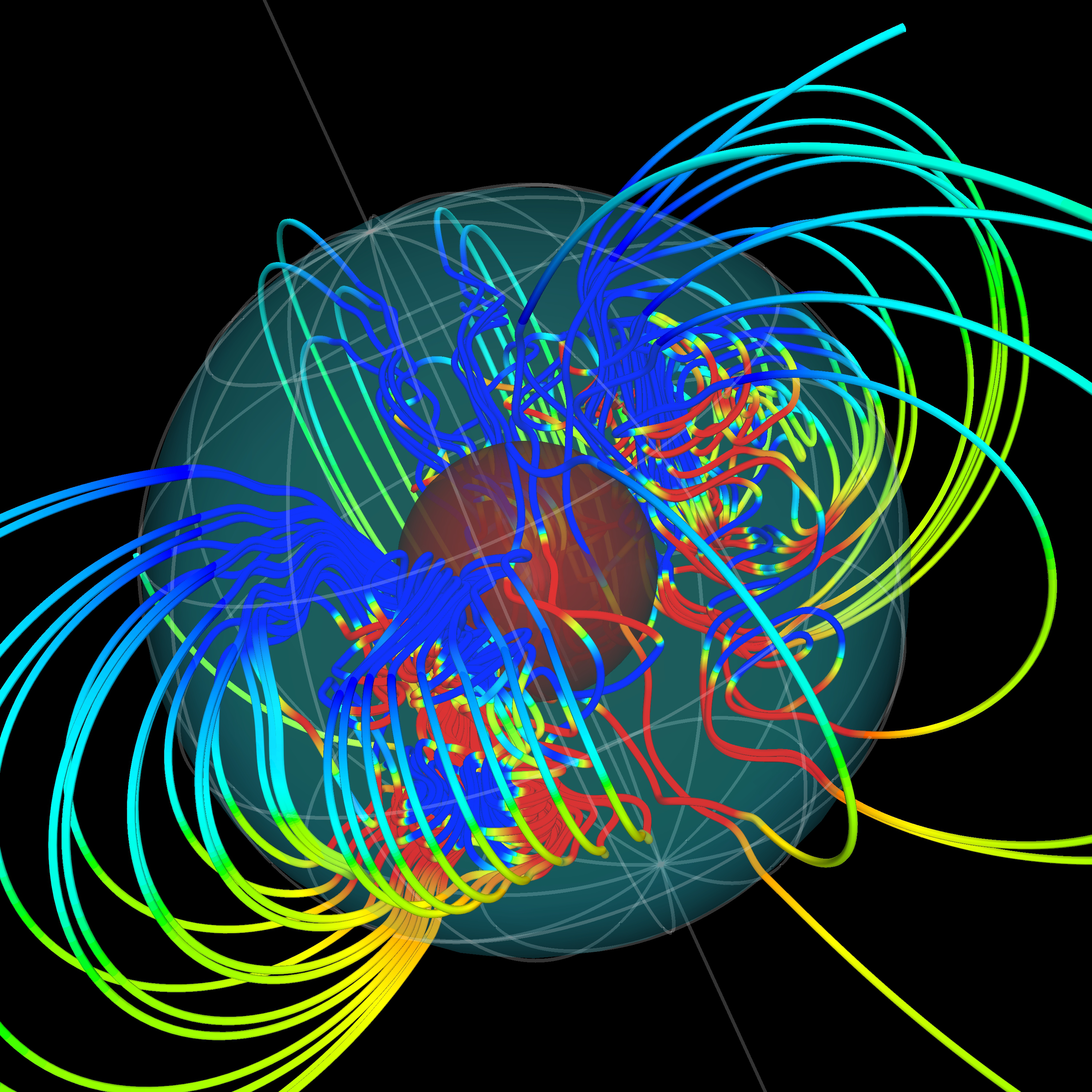 Depiction of Magnetic field lines coming out of the Earth's core