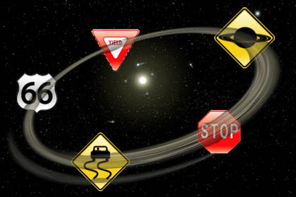 artist concept of a debris disk with traffic signs