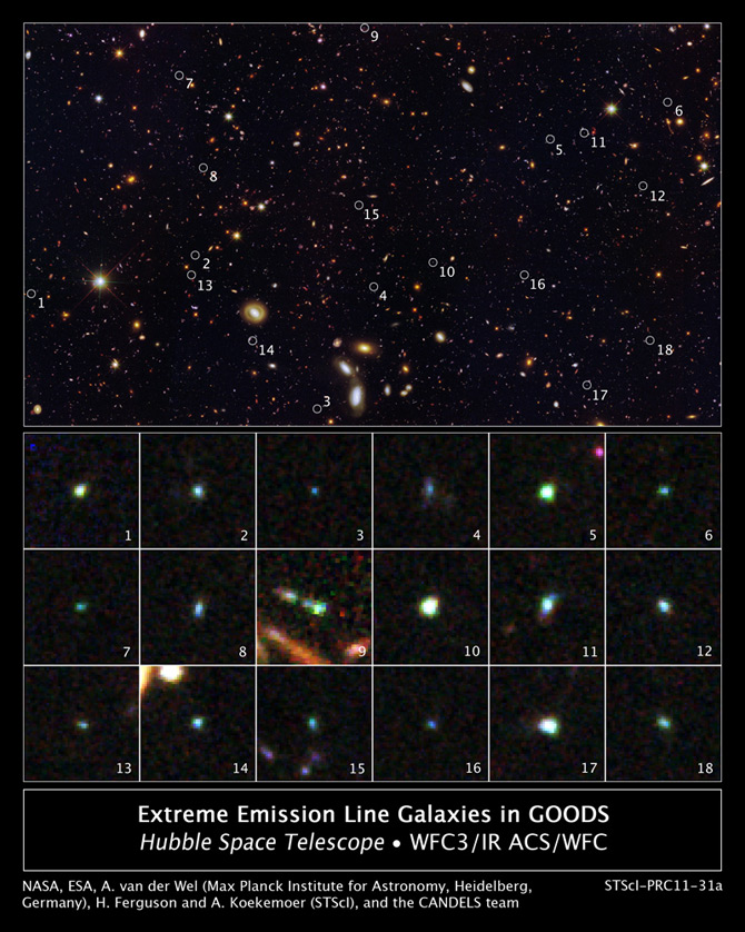 This image reveals 18 timy galaxies uncovered by HST.