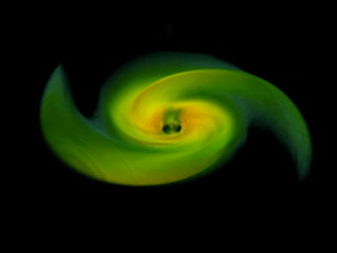 frame from black hole merger simulation