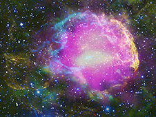 This multiwavelength composite shows the supernova remnant IC 443, also known as the Jellyfish Nebula.