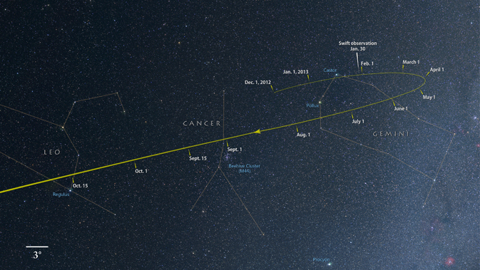 From now through October, comet ISON tracks through the constellations Gemini, Cancer and Leo as it falls toward the sun.