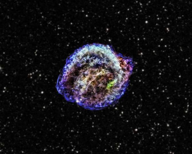 This composite of images from NASA's Chandra X-ray Observatory shows the remnant of Kepler's supernova in low, intermediate and high-energy X-rays.