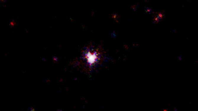 This false-color image shows the event as captured by the X-ray Telescope aboard NASA's Swift satellite