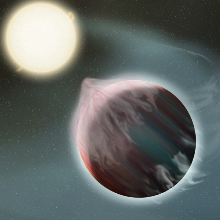An artist's depiction of an early stage in the destruction of a hot Jupiter by its star.