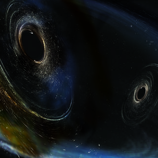 This illustration shows two merging black holes similar to those detected by LIGO