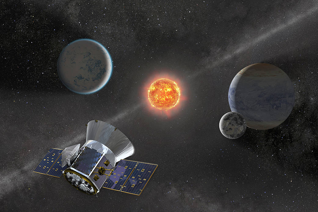 Artist's conception of TESS satellite in space