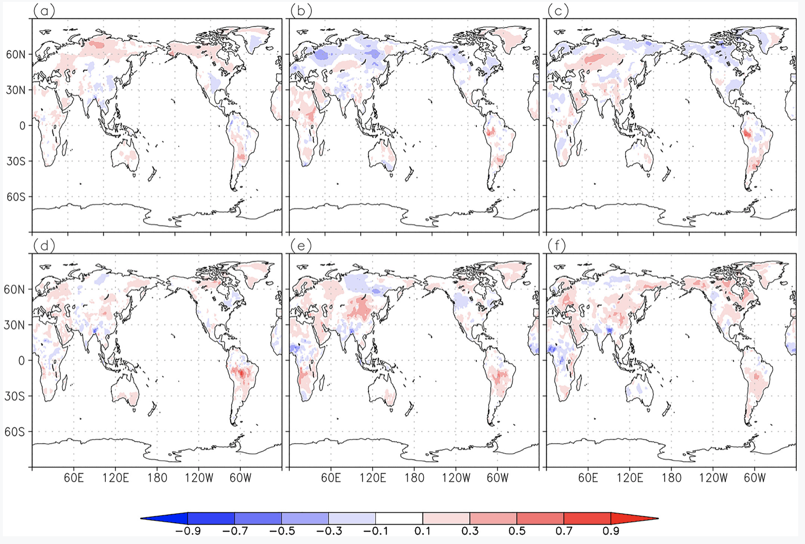 Series of six GEOS-S2S-2 near-surface temperature images