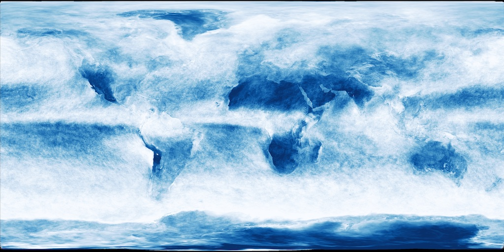 cloud fraction map reveals how much of Earth's surface is covered by clouds over a span of one month