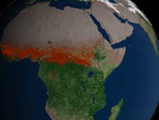 Screen shot of visualization of fires in Africa