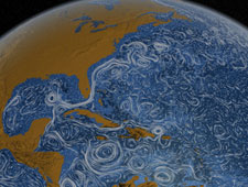 Screen capture from video on ocean currents showing the Gulf Stream in the Atlantic