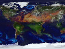 Visualization of global aerosols: dust, sea salt, sulphate, and black and organic carbon