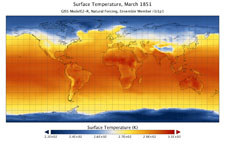 Visualization of Surface Temperature, March 1851 from GISS ModelE2-R