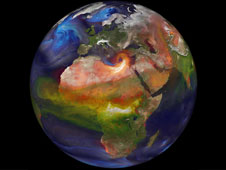 Visualization of smoke and other aerosols on globe