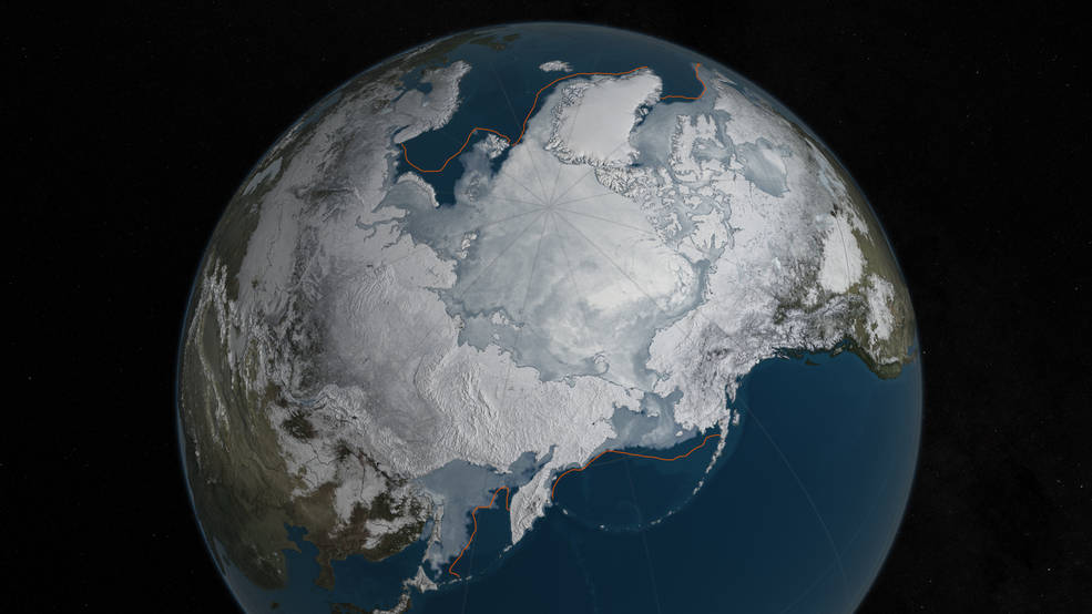 Still frame from animation depicting Arctic sea ice levels