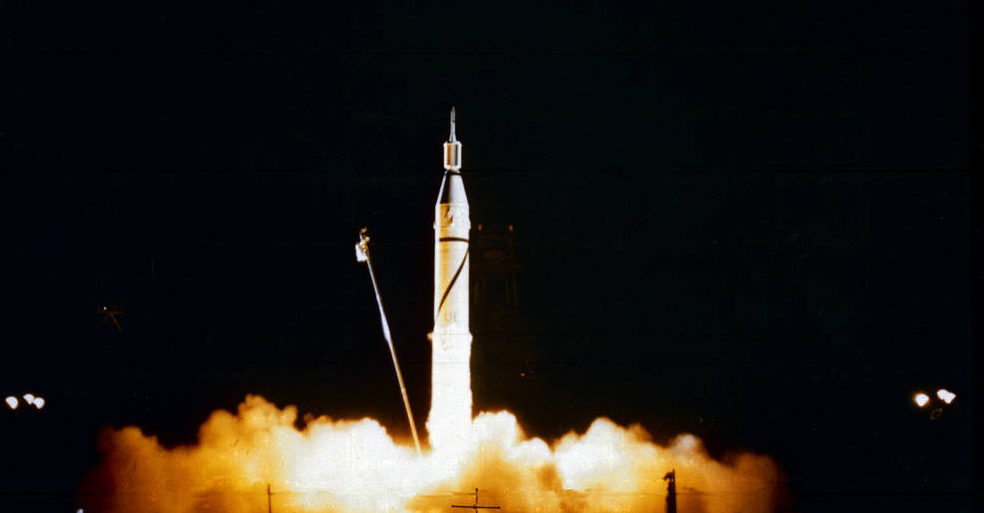 Photo of the Jupiter-C rocket launched from Cape Canaveral, Florida, carrying Explorer 1
