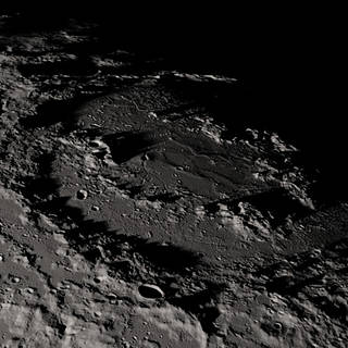 Close-up view of craters and mountains on the moon