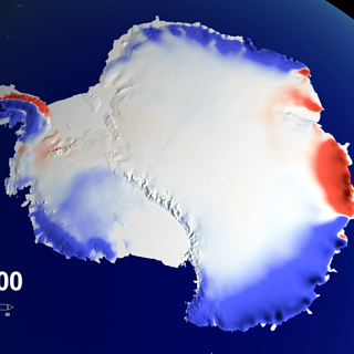 Still from animation depicting snow accumulation levels over Antarctica