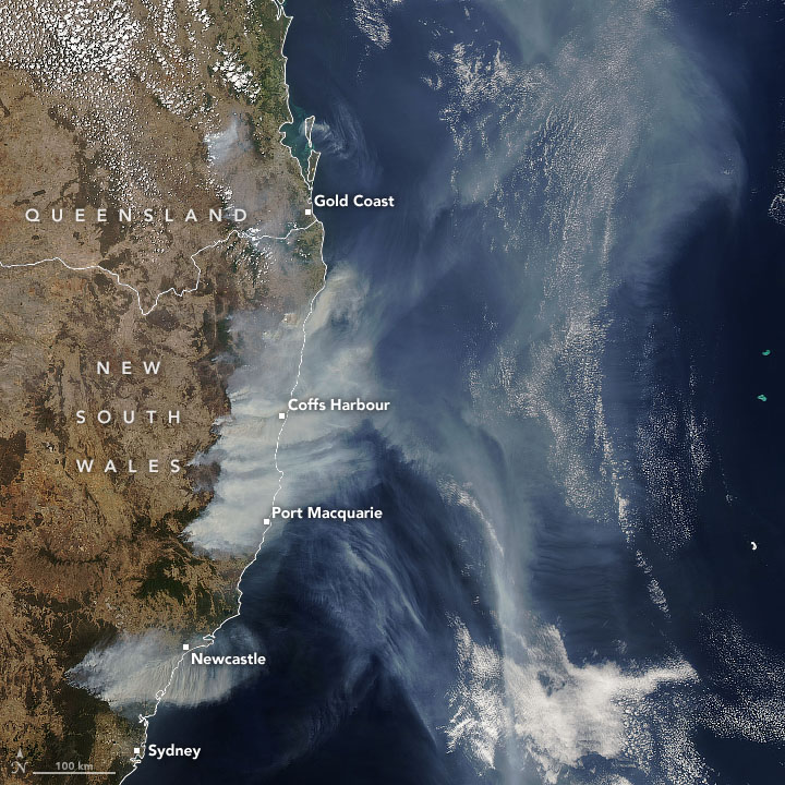 Aqua satellite natural-color image of smoke plumes from New South Wales and Queensland