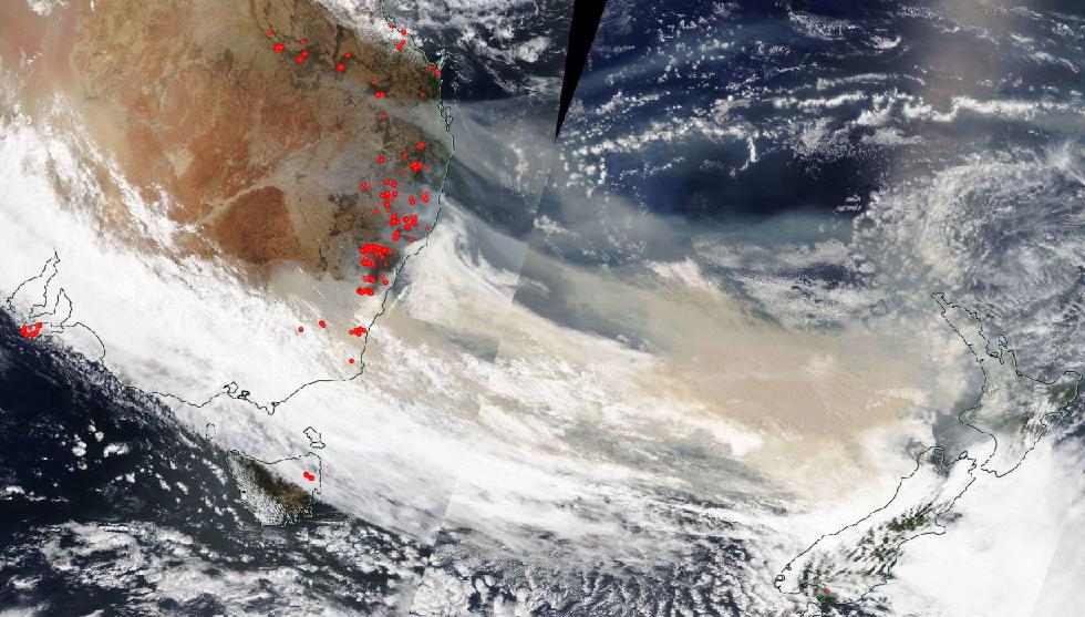 Image taken by NASA's Aqua satellite using the MODIS (Moderate Resolution Imaging Spectroradiometer) instrument on Jan. 05, 2020, showing smoke plumes reaching across the Tasman Sea from Australia to New Zealand.