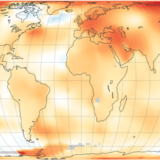 Map of 2018 global temperature data: higher than average (1951-1980) temperatures are shown in red, lower than normal temperatures are in blue.