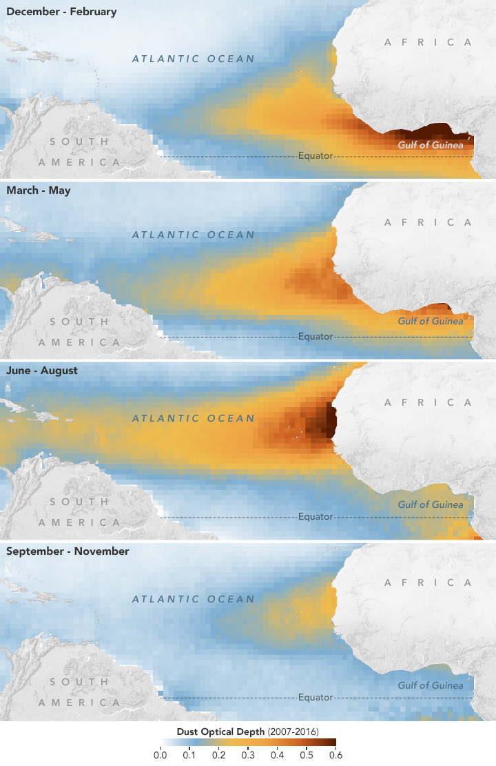 Maps depicting dust moving out from Africa and over the Atlantic Ocean from 2007–2016