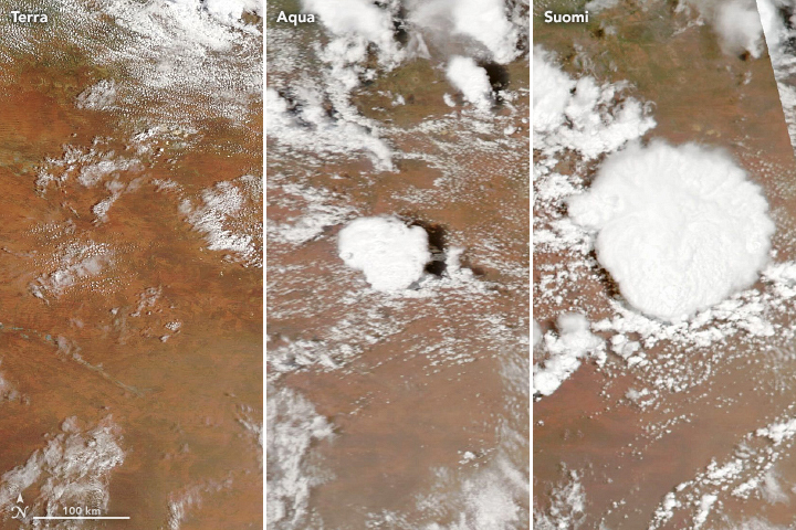 Three natural color satellite images depicting the evolution of a storm over Western Australia on January 14, 2020.