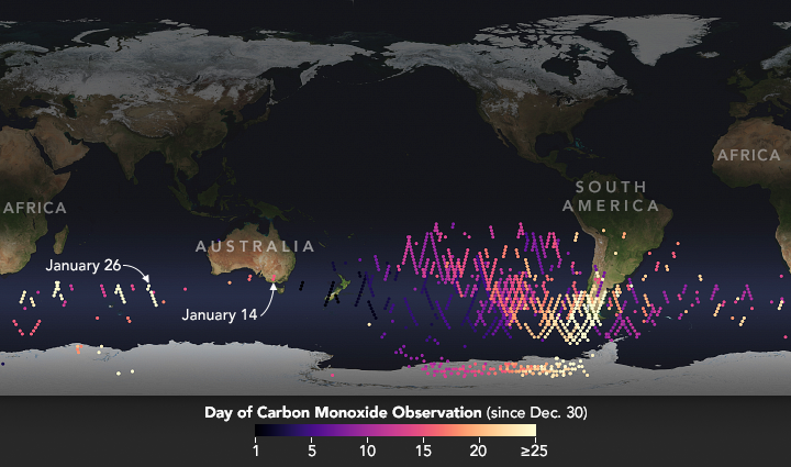 Global map depicting locations and dates of carbon monoxide observations that MLS made in January 2020.