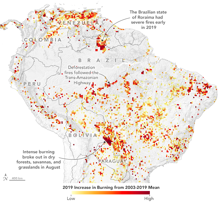 Map of Brazil showing 2019 Increase in Burning from 2003-2019 Mean