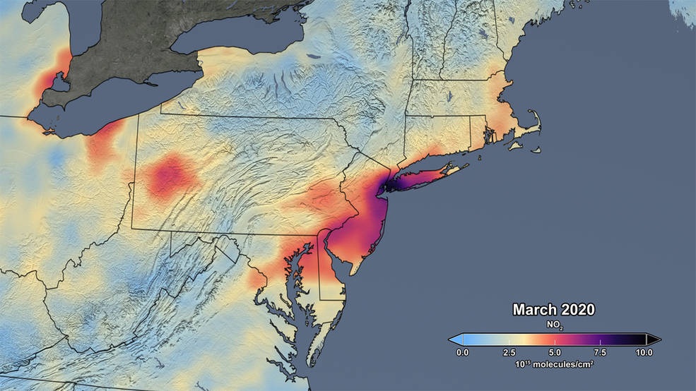 Image depicting March 2020 levels of nitrogen dioxide in the northeast U.S
