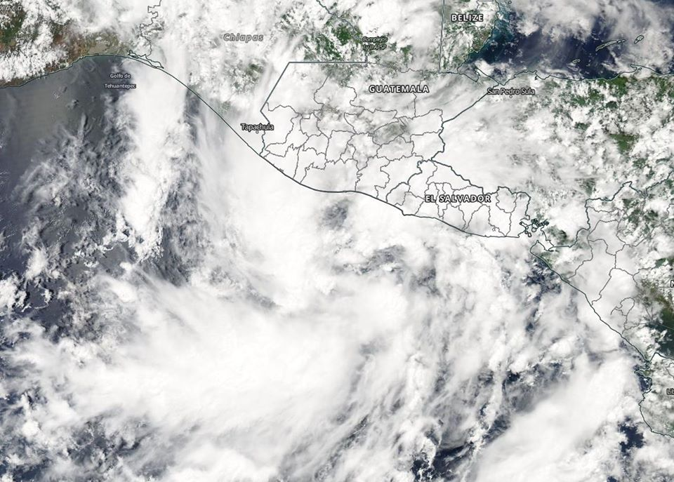 Aqua satellite image of Tropical Storm Amanda