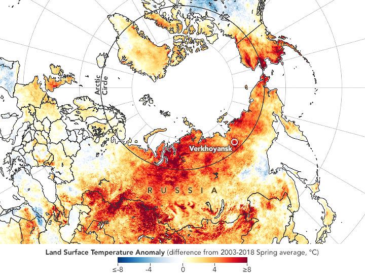 Map of Land Surface Temperature Anomaly in Siberia
