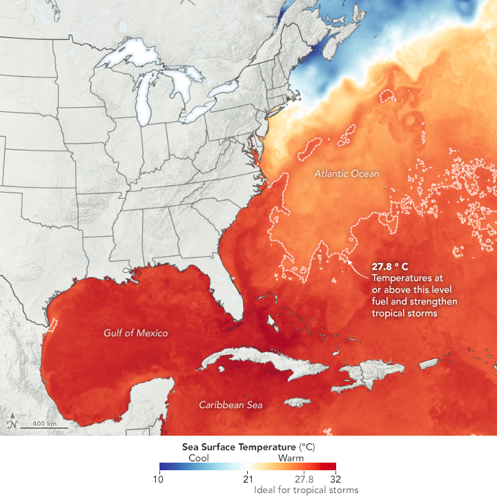 Map of sea surface temperature of Atlantic Ocean on July 14, 2020