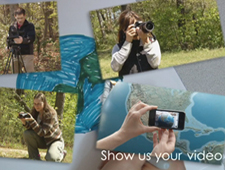 Still of video contest promo image showing amateur videographers making videos