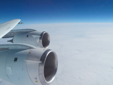Photo of DC-8 engines out of window
