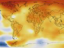 Map of global temperature anomalies averaged from 2008 through 2012