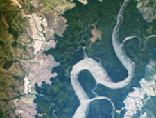 Cropped thumbnail of new ISS ISERV image of Rio San Pablo as it empties into the Golfo de Montijo in Veraguas, Panama.