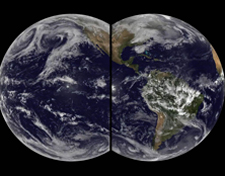 Two rounded images of the Earth as if you were simultaneously looking at the Atlantic and Pacific oceans with very wide-set eyes.
