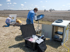 Photo of NASA and Iowa Flood Center staff installing instrumentation in eastern Iowa for the IFloodS campaign.