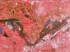 Terra ASTER image of Grand River in Grand Rapids, Michigan