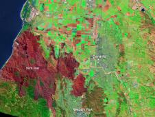 False color Landsat image of Springs Fire burnscar