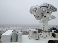 Photo of the D3R radar, which measures precipitation at similar frequencies as the radar on the GPM Core satellite, measured rain, snow, and sleet at the Traer site in Iowa.