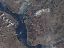 screenshot of animation depicting Landsat view from space