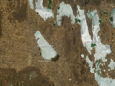 Terra image of ice on Dauphin Lake