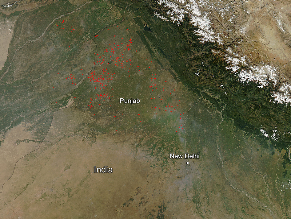 Aqua satellite image of fires in Punjab region in India