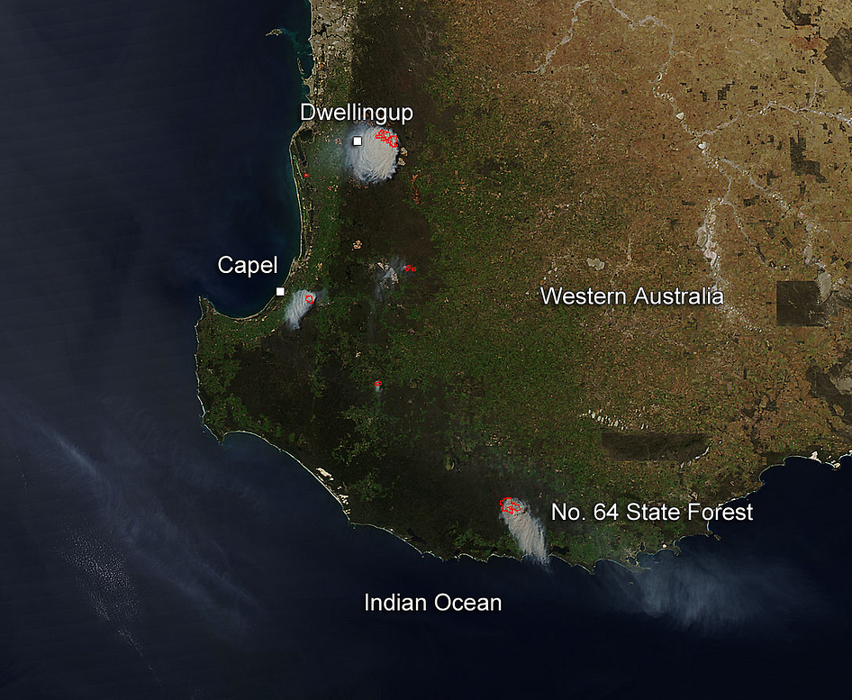 Aqua satellite image of fires in western Australia