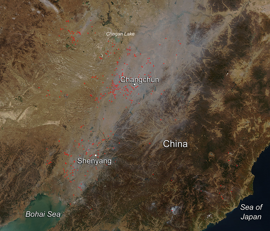 Aqua satellite image of China